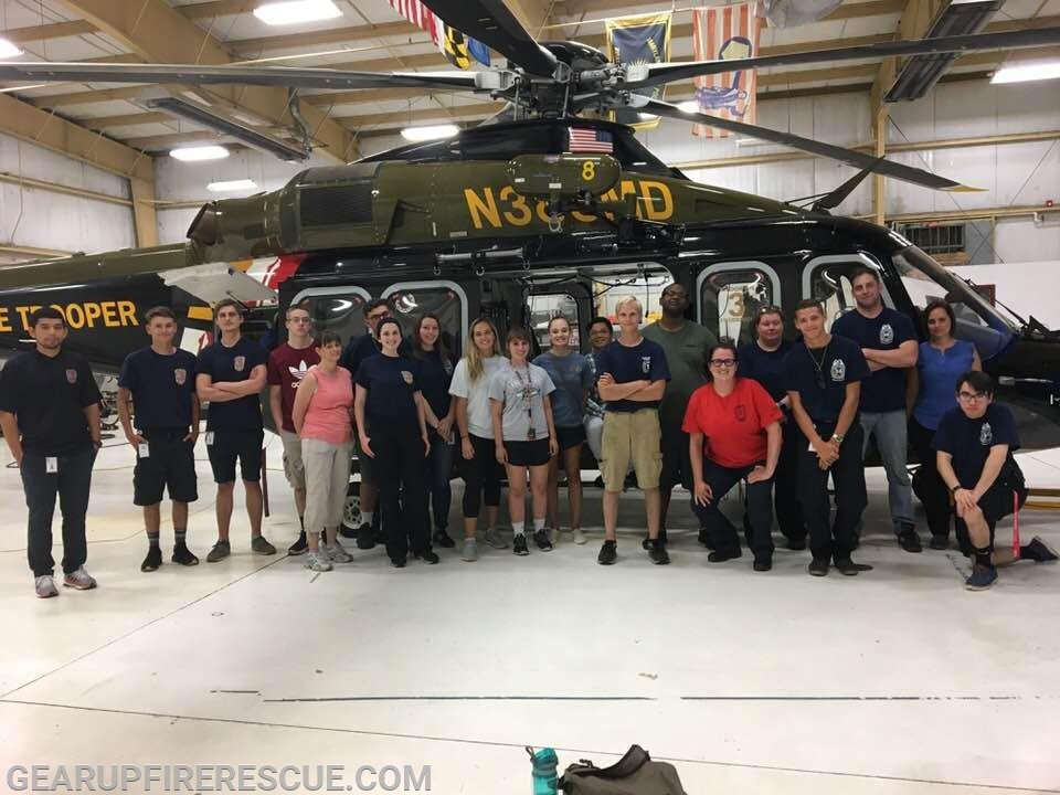 Gear Up Class 19-4 participants at the Maryland State Police (MSP) Trooper 3 Aviation hanger.